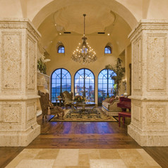 Square Tuscan Stone Columns at Foyer