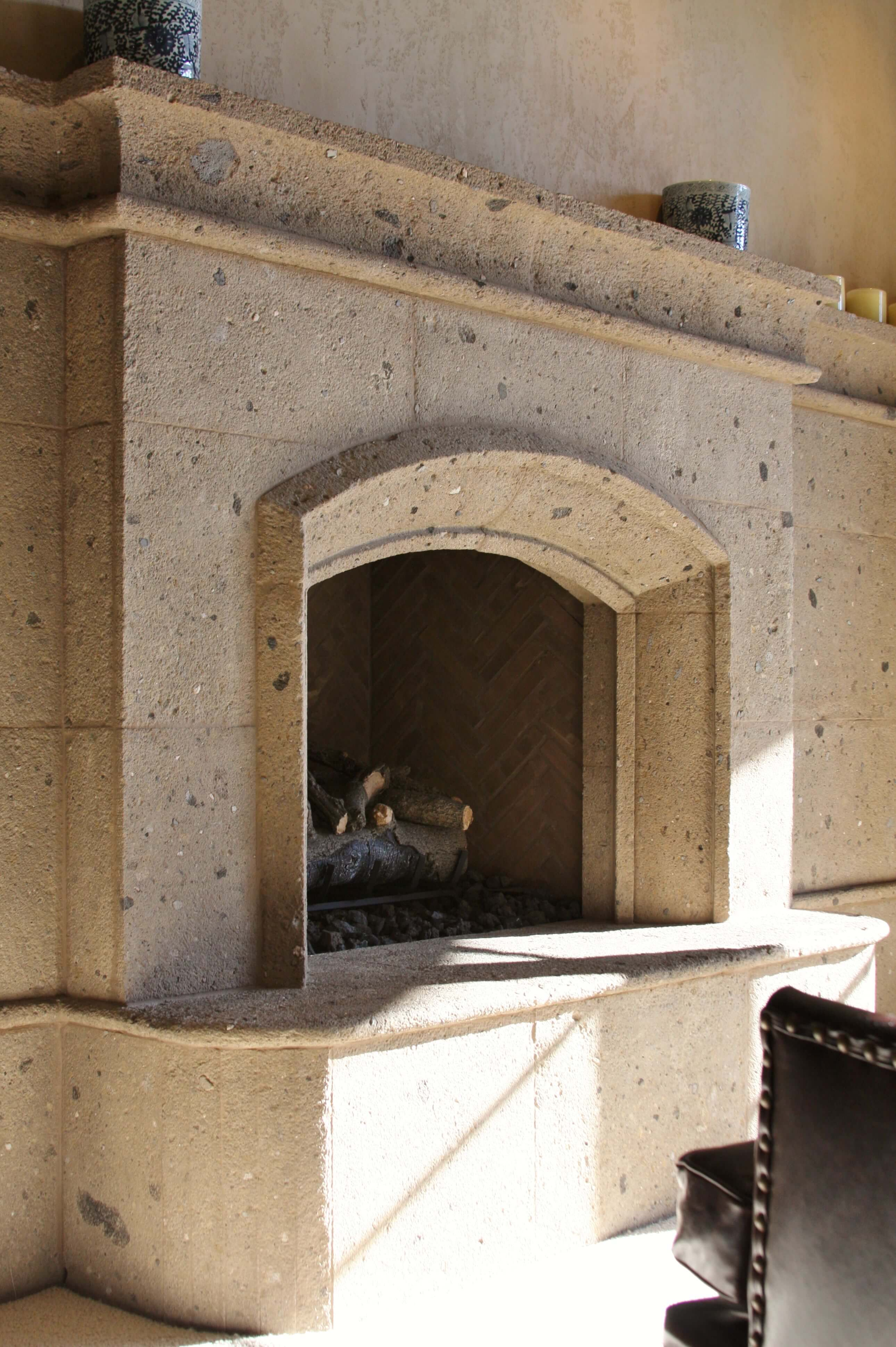 2-Southwest-Traditional-Fireplace-Surround-at-Master-Bedroom-in-Distressed-Tobacco-Cantera-Stone