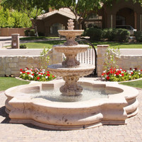Tiered Fountain with Quatrefoil Basin in Cantera Stone