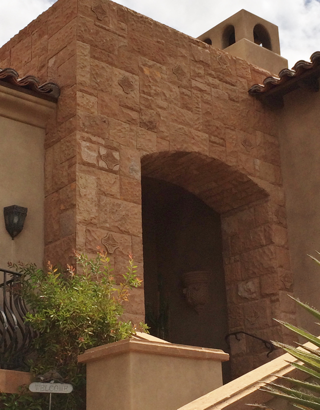 exterior stone wall and entryway