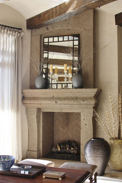 1-Southwest-Contemporary-Fireplace-Surround-with-Overmantel-at-Great-Room-in-Distressed-Tobacco-Cant