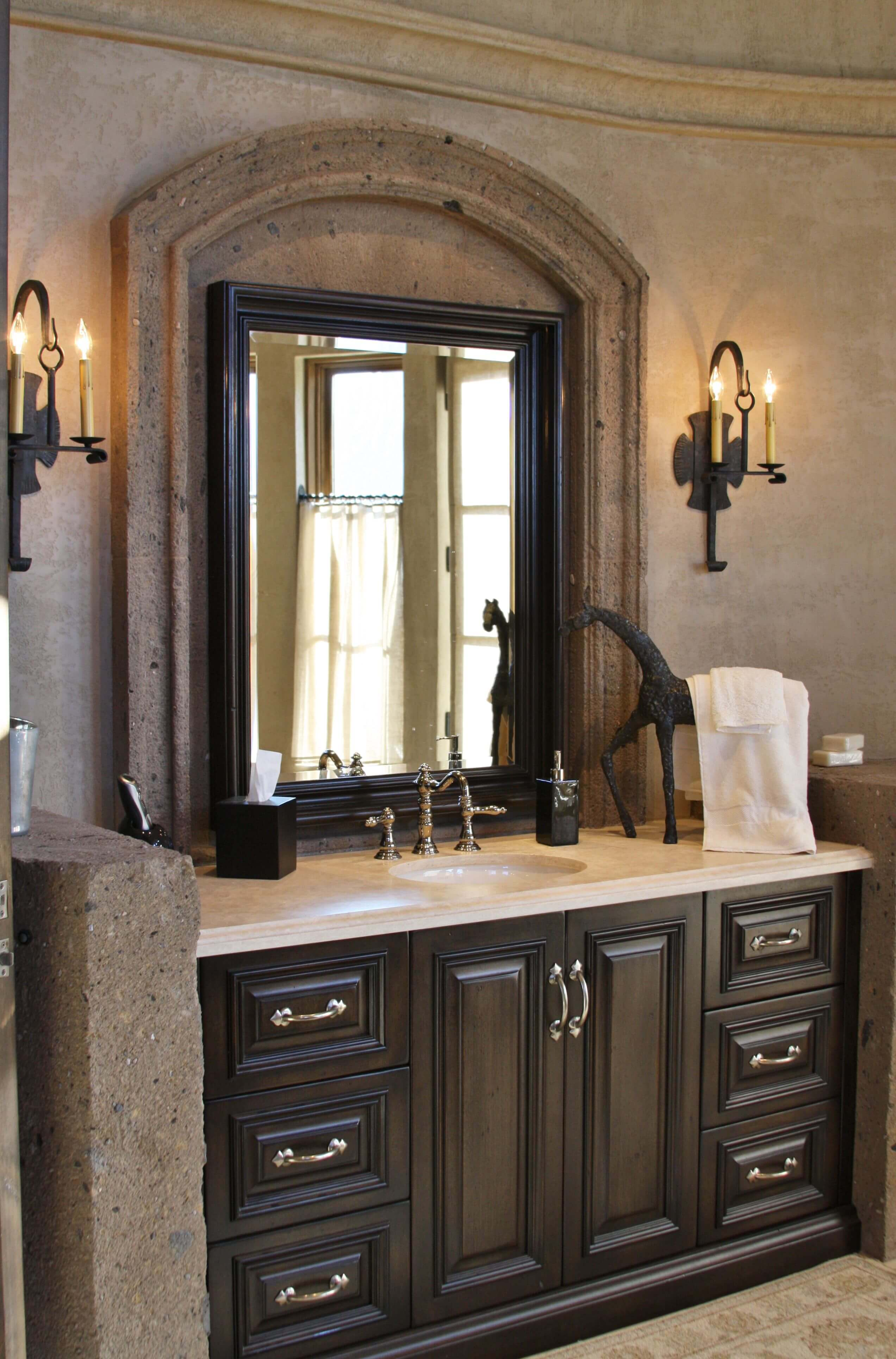 8-Vanity-Arched-Mirror-Surround-in-Tobacco-Cantera-Stone-with-Distressed-Finish