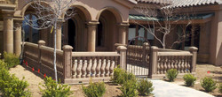 2-Transitional-Mediterranean-Entryway-with-Columns-and-Balustrade-System-in-Tobacco-Cantera-Stone