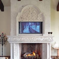 Cantera Stone Fireplace Mantel Surround