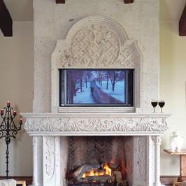 Cantera Stone Fireplace Mantel Surround