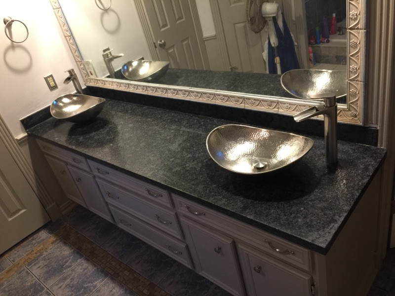 bathroom counter with double matching sinks