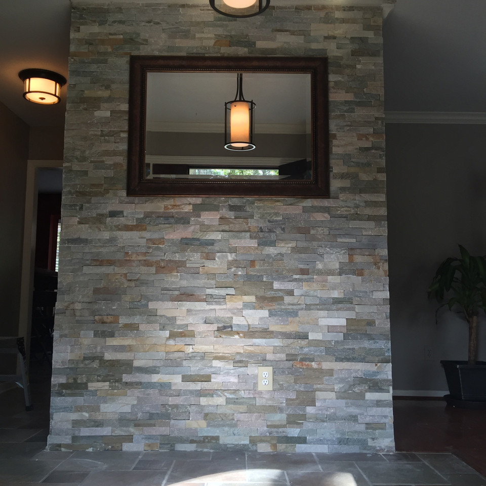 fancy brick wall in entertainment and living room