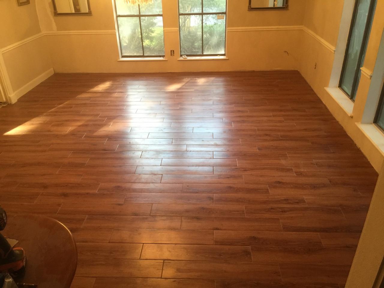 wood tile floor in guest bedroom