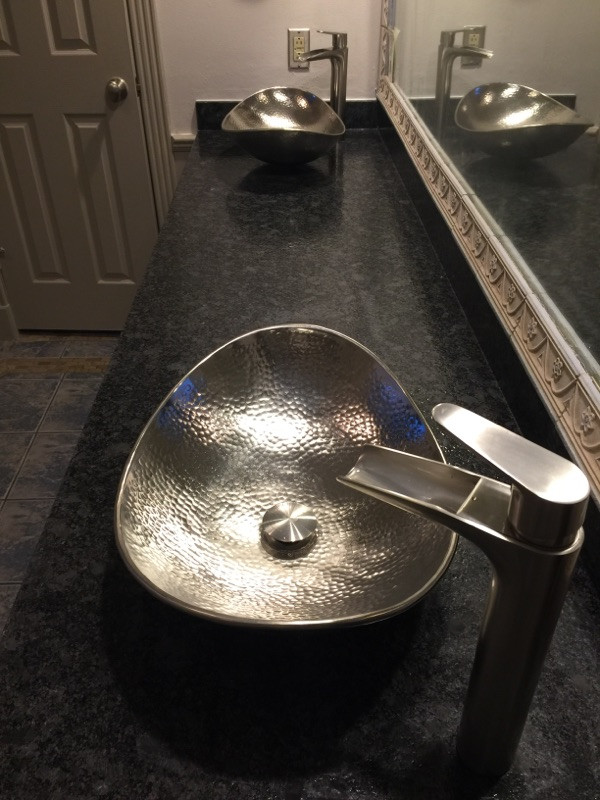 fancy metal over the counter sink