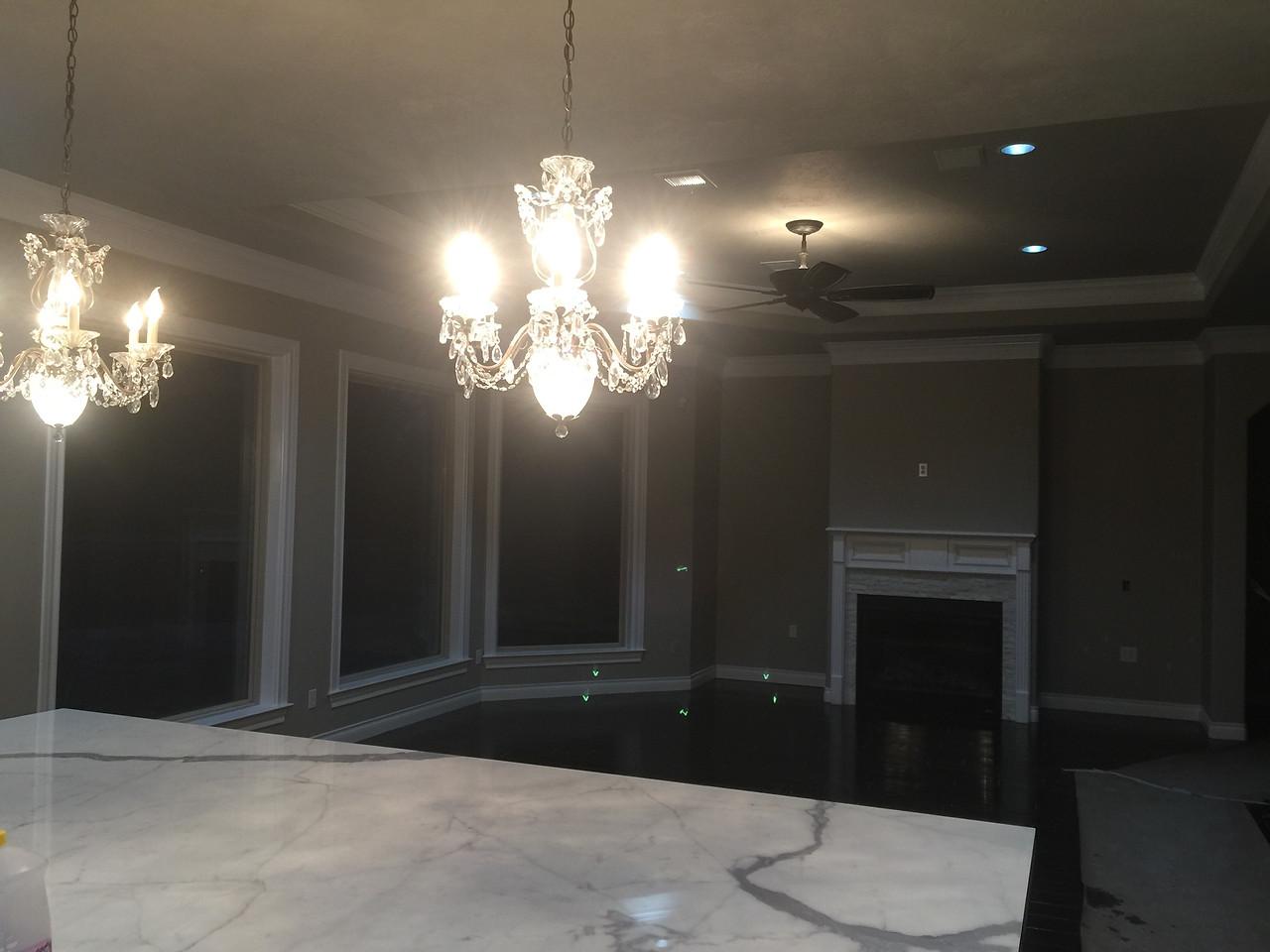 overhanging chandeliers in the kitchen