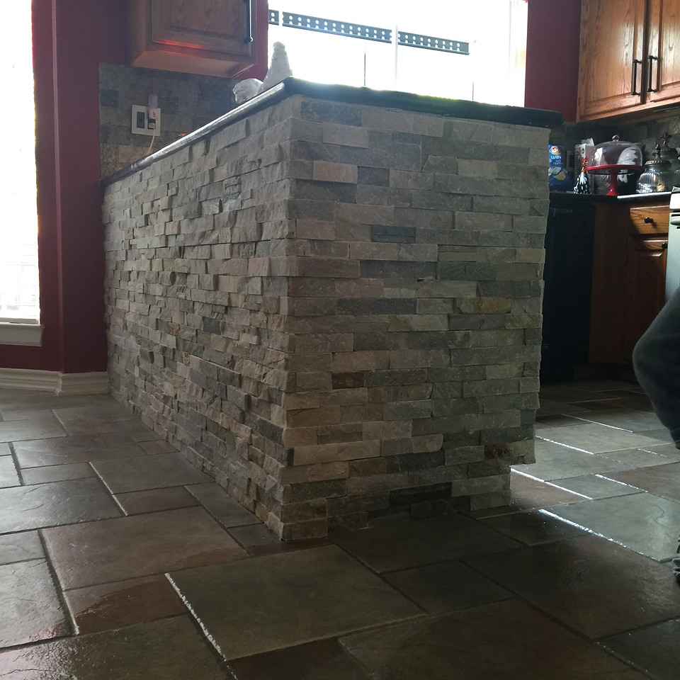 brick and marble kitchen countertop