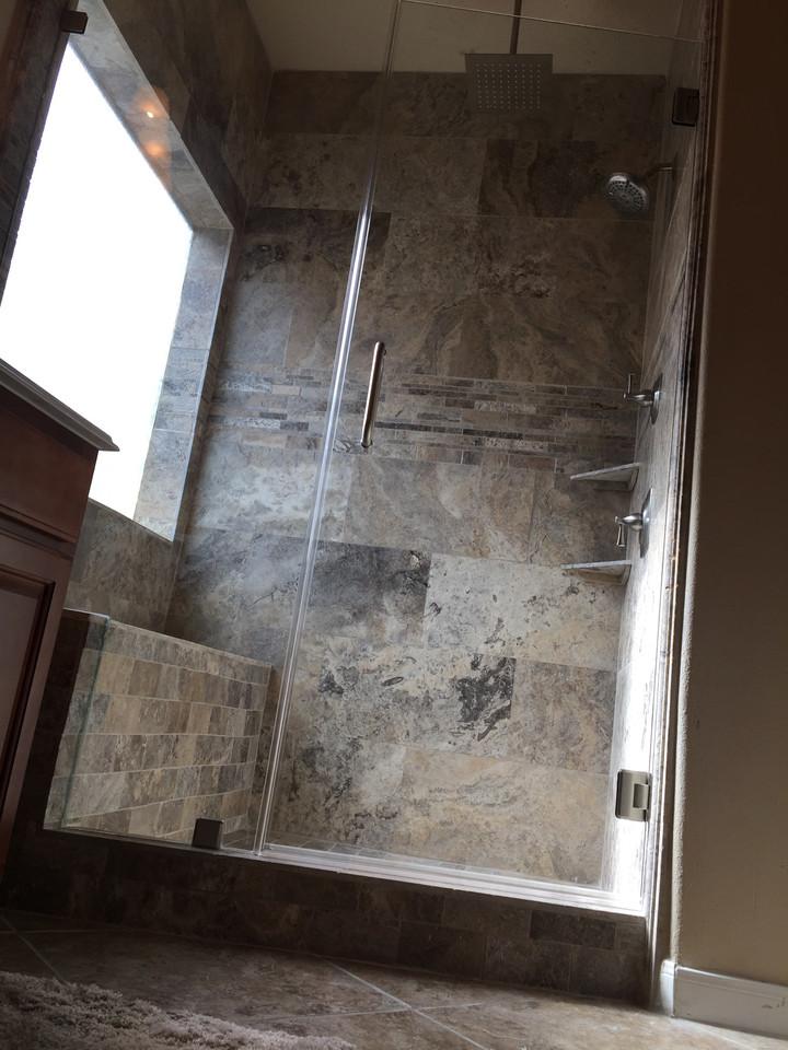 custom glass standing shower with sliding glass door
