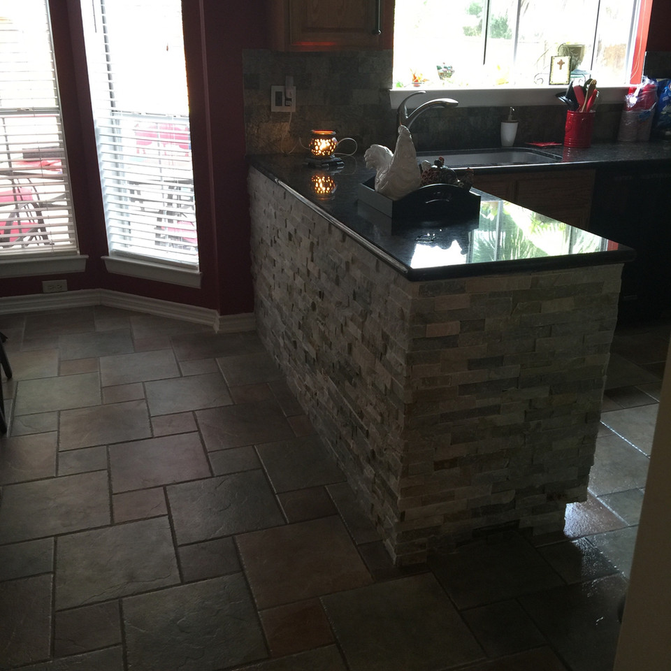 brick and marble countertop for the kitchen