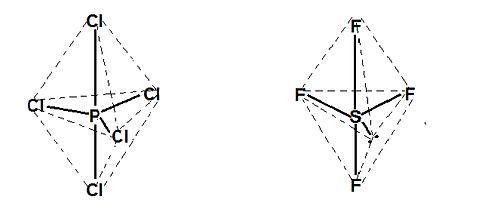 PCl5 və SF4 molekulları