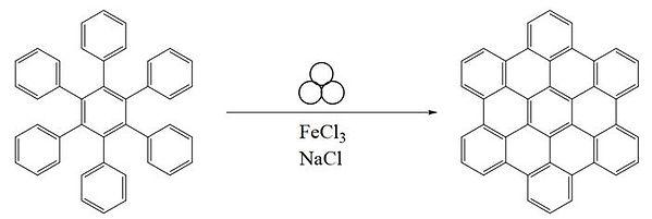 Heksafenilbenzol - heksabenzokoronen çevrilməs