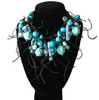 Teresa Goodall turquoise & lavender handbeaded necklace