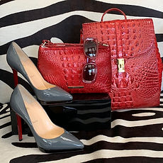 Brahmin handbags, Gucci sunglasses, Louboutin stiletto heel shoes