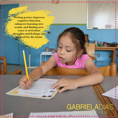 Promoting education and participation through cognitive function and poetry created by GDF Children.