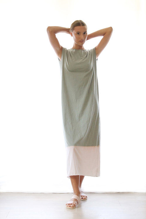 Hand-dyed Sage Green maxi dress