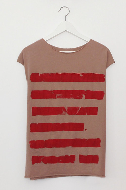 Powder pink shirt with Red stripes