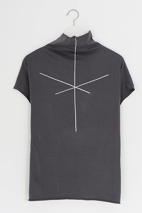 Stripe printed Grey turtle neck shirt