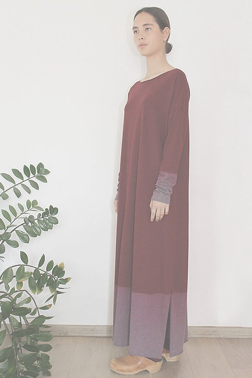 Hand-dyed long sleeves Red maxi dress