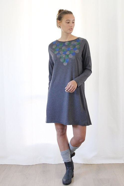 Hand-printed Circles Grey dress
