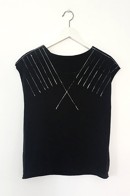 Black shirt with hand-printed lines