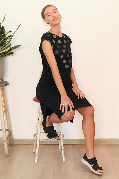 Polka dots printed Black midi dress