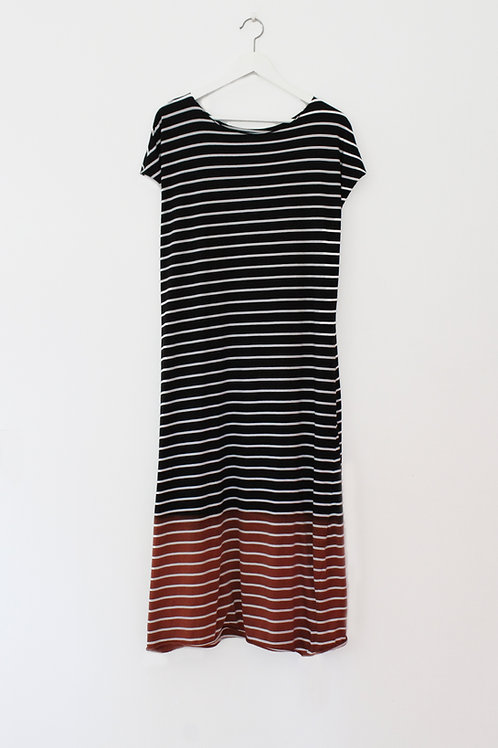 Hand-dyed striped maxi dress