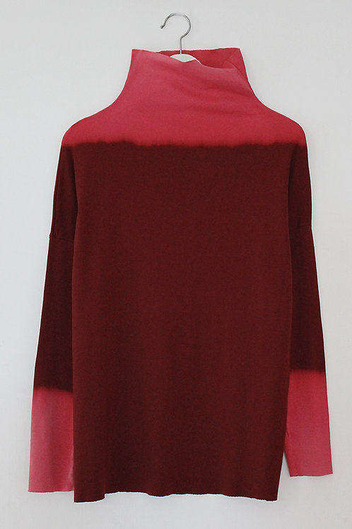Hand-dyed Red turtle neck top