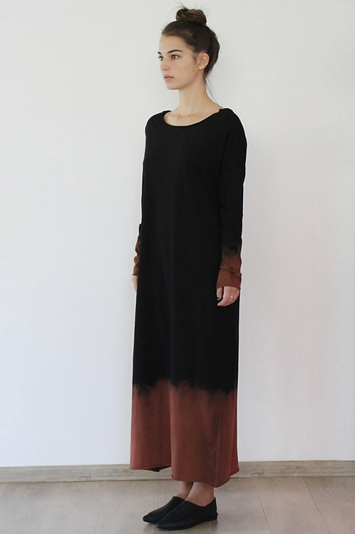 Hand-dyed Black maxi winter dress