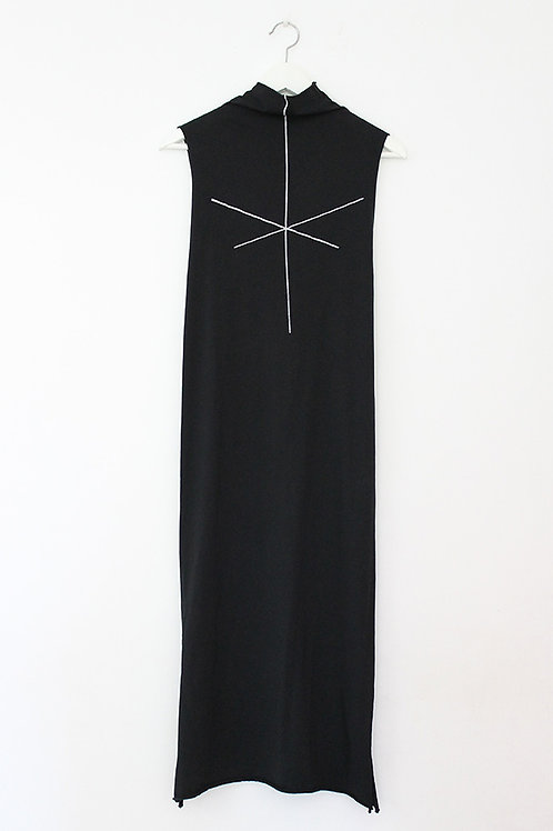 stripe print Black turtle neck dress