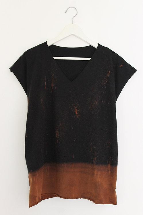 Hand-dyed Black Kaftan style top