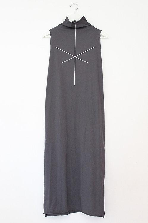 Stripe print Grey turtle neck dress