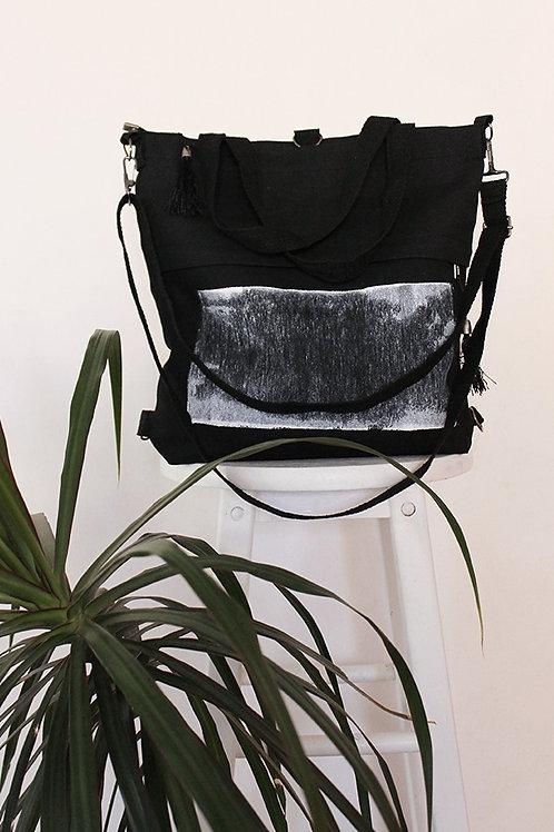 Hand-printed Black Tote Bag