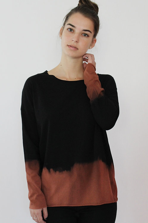 Hand-dyed Black long sleeves top