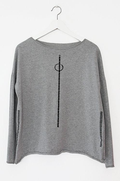 Grey shirt with dots & stripes print