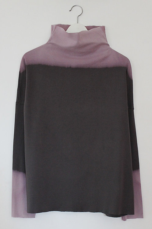 Hand-dyed Charcoal turtle neck top