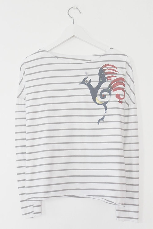 Multi color bird printed striped shirt