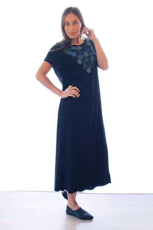 Hand printed Circles maxi dress
