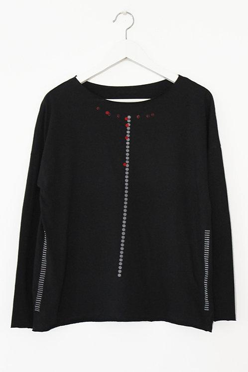 Black shirt with dots & stripes print