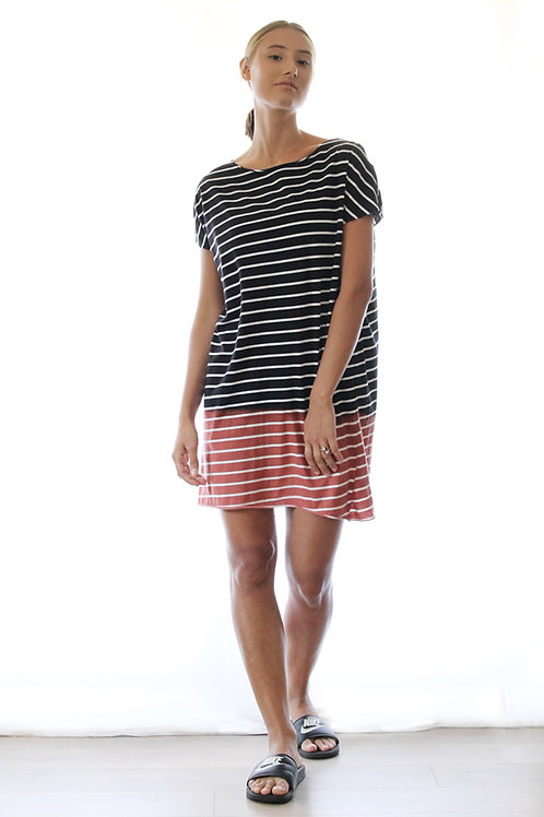 Hand-dyed Black striped dress