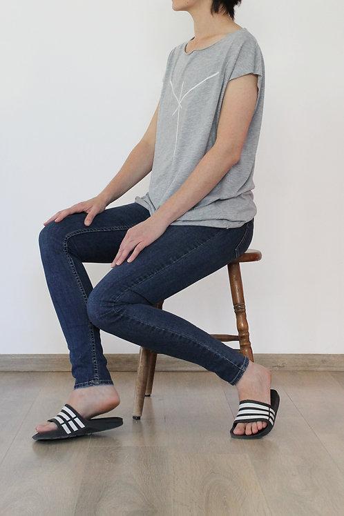 Grey shirt with a white stripe print