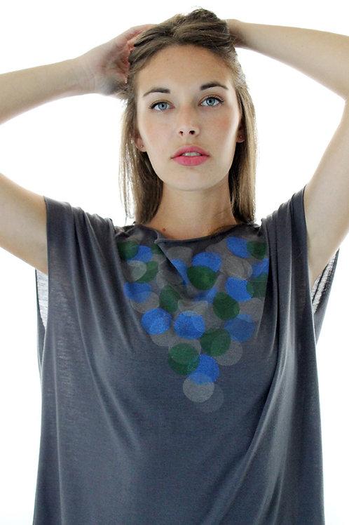 Hand-printed Circles charcoal shirt