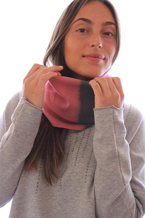 Hand-dyed Grey & Pink loop scarf