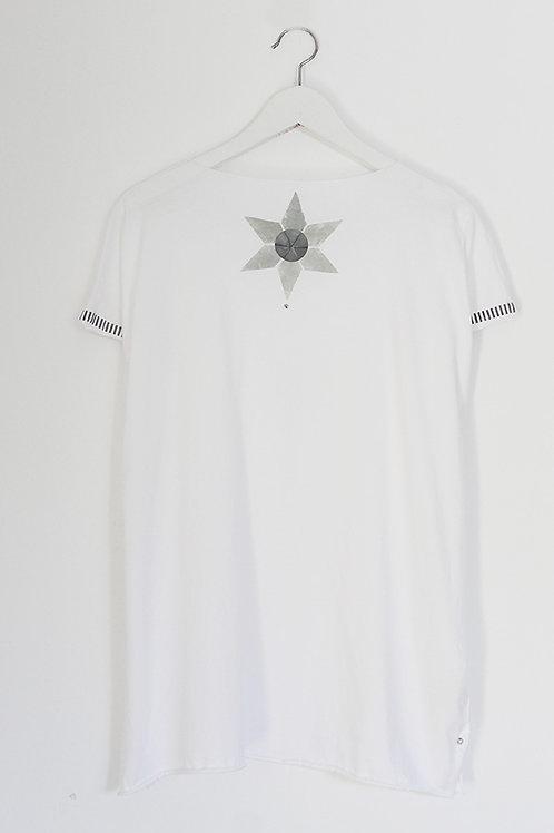 White Kaftan style top with Grey print