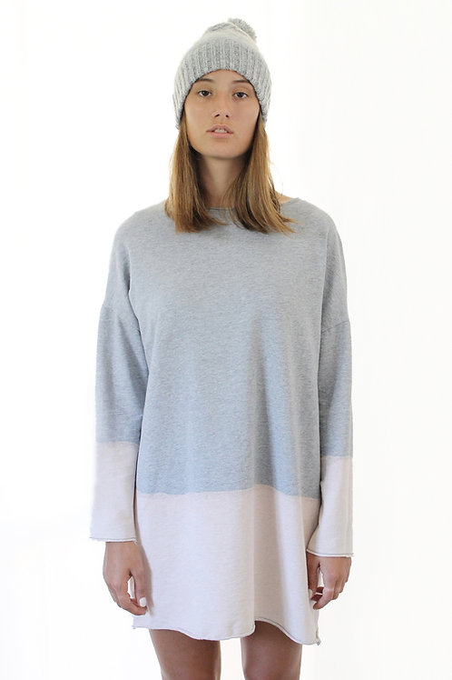 Hand-dyed grey sweatshirt dress