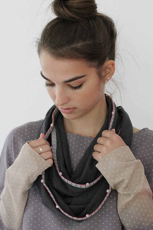 Grey infinity scarf with Pink beads