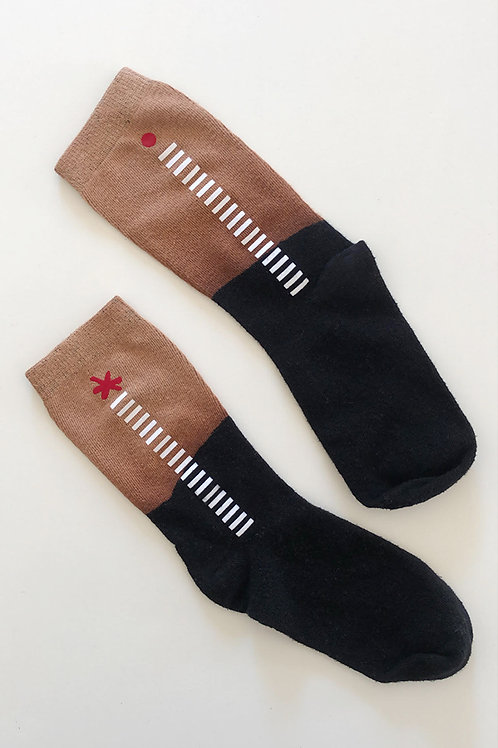 Hand-dyed Black & Copper socks